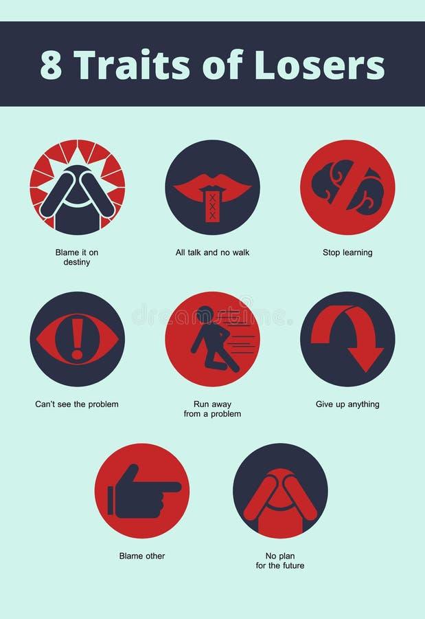 8 rasgos del icono de los perdedores ilustración del vector