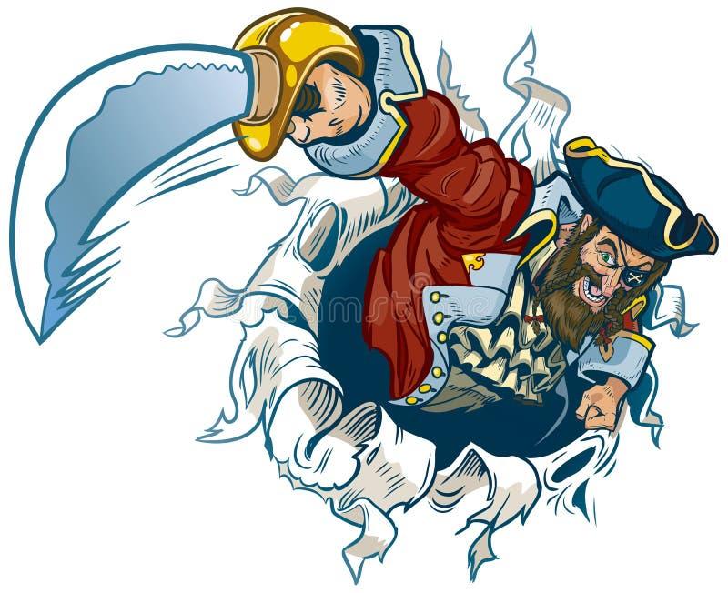 Rasgos do pirata dos desenhos animados do vetor fora do fundo ilustração do vetor