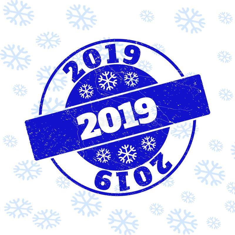 2019 rasguñó el sello redondo del sello por Año Nuevo ilustración del vector