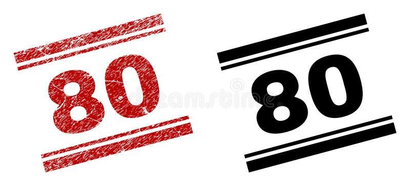 Rasguñado texturizado y limpie 80 impresiones del sello ilustración del vector