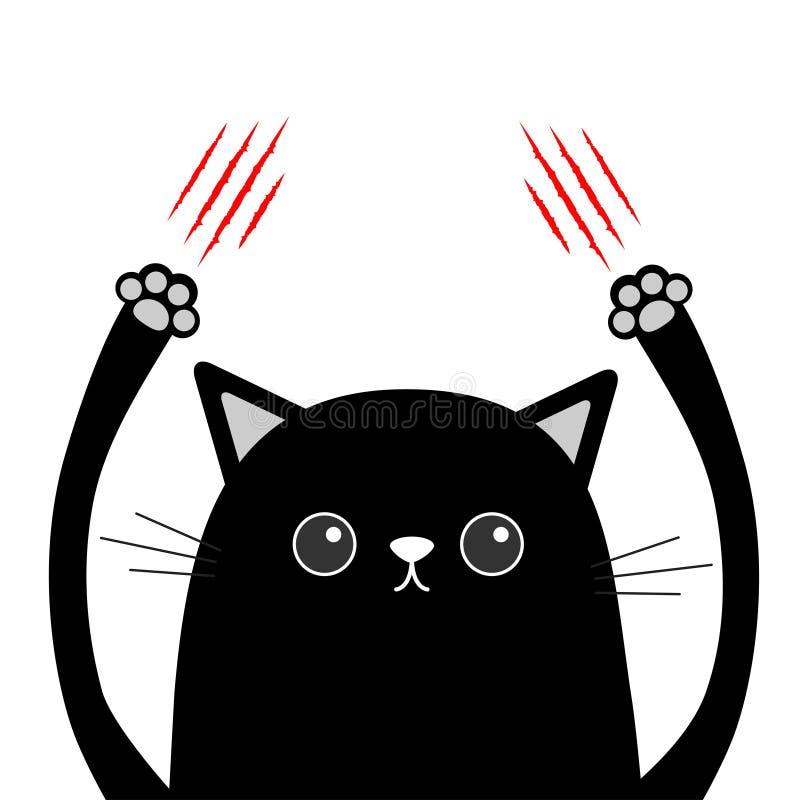 Rasguño de la garra del gato negro de la historieta Rasguño sangriento rojo Cabeza divertida de la cara Ojos, nariz, mano de impr libre illustration