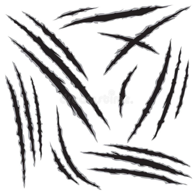 Rasguños del agujero de la garra del monstruo fijados stock de ilustración