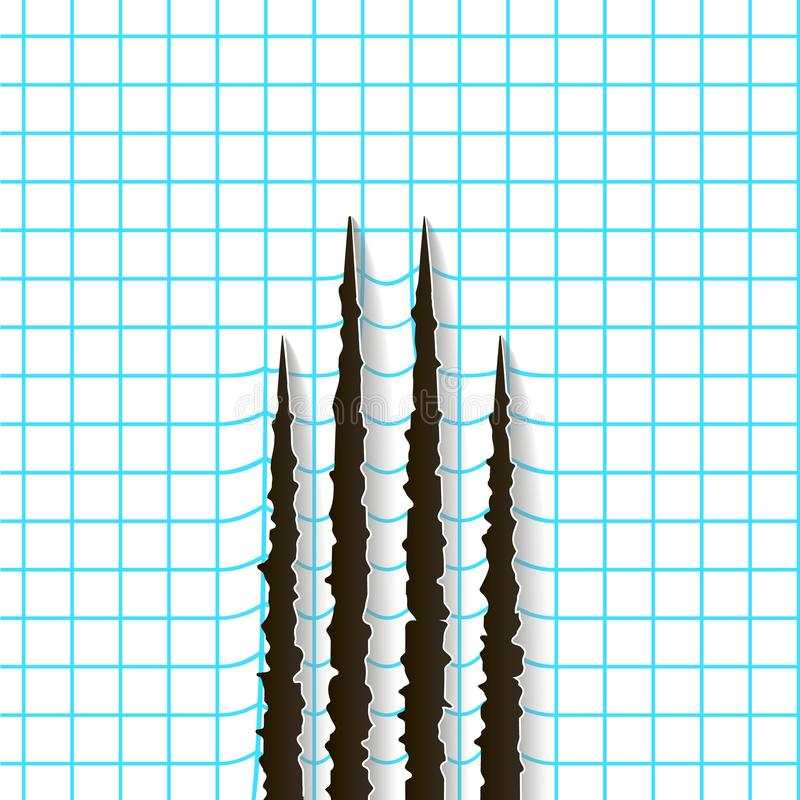 Rasguños negros de las garras - aislados en fondo del papel ajustado Cortes gato animal, perro de las garras, ilustración del vector