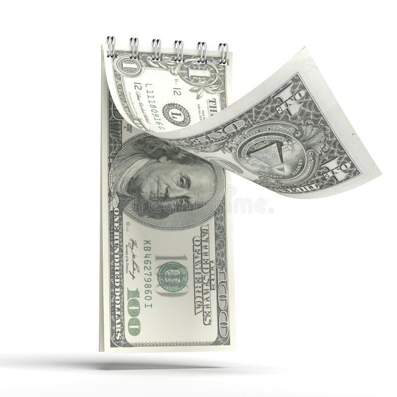 Rasgue el calendario con un billete de banco del dólar imágenes de archivo libres de regalías