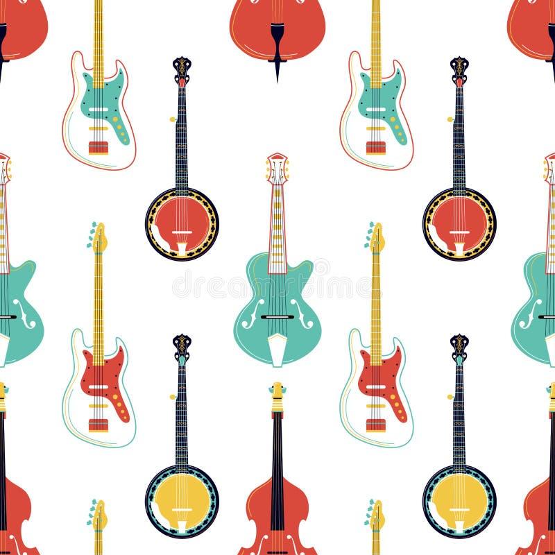 Rasguear el modelo inconsútil del vector de los instrumentos de música ilustración del vector