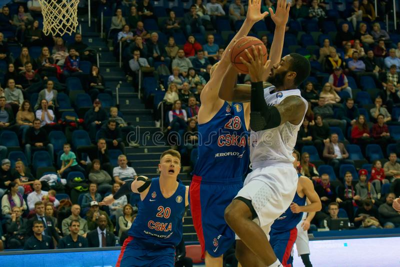 Rashard Kelly 0 in attack. MOSCOW, RUSSIA - OCTOBER 29, 2018: Rashard Kelly 0 in a basketball game CSKA vs Parma Perm on the regular championship of the VTB stock images