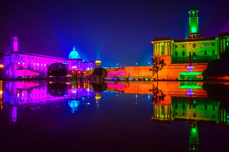 Rashtrapati Bahwan at Night, Coloured lights at Rashtrapati bhawan delhi India, India president house night view. Rashtrapati Bahwan at Night, Coloured lights at stock photography