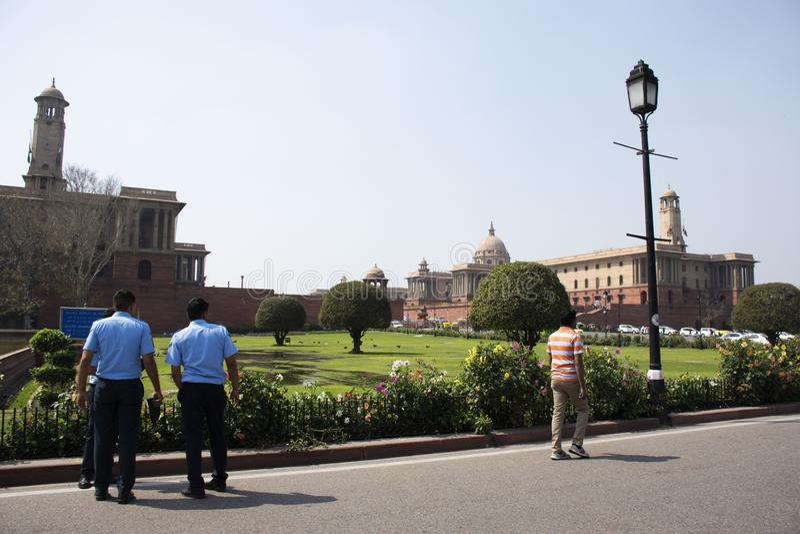 Rashtrapati Bhavan und Delhi-Sekretariat in Neu-Delhi, Indien lizenzfreies stockbild