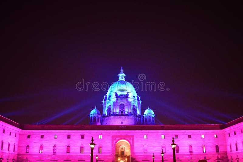 Rashtrapati Bhawan night colourful lightning in Delhi India. Travel, travelphotography, nature, travelgram, love, photooftheday, instatravel, instagood royalty free stock images
