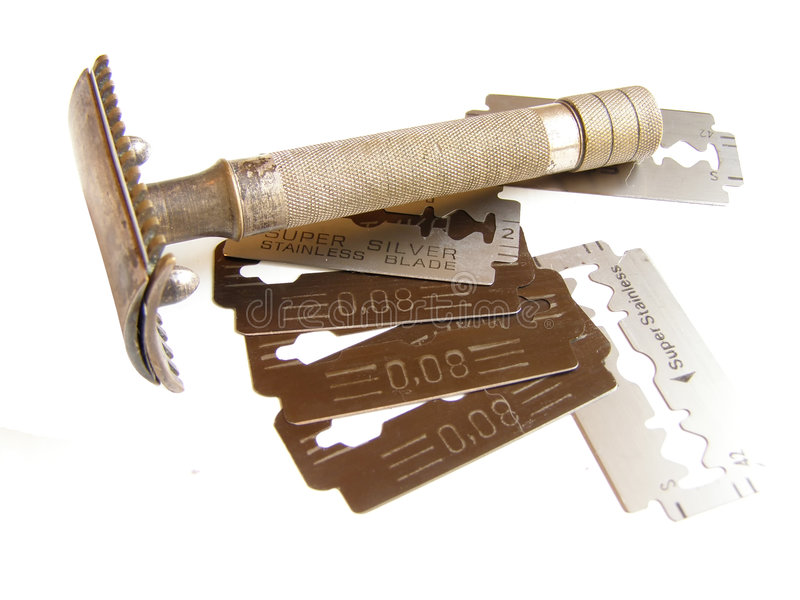 Rasiermesser u. Blätter lizenzfreies stockfoto
