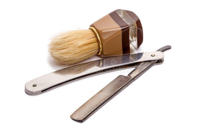 Rasierpinsel und gerades Rasiermesser (klassisch) stockfoto