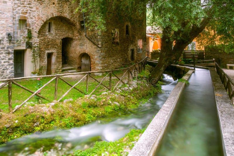 Rasiglia Umbria Riverside Town Italy royalty-vrije stock afbeeldingen
