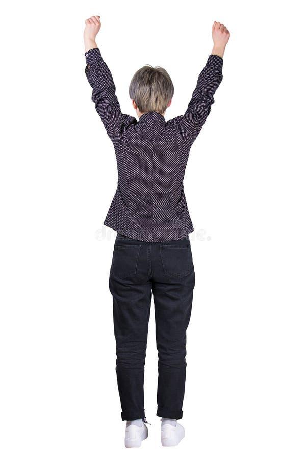 Rasing Hände der Frau der hinteren Ansicht stockfotos