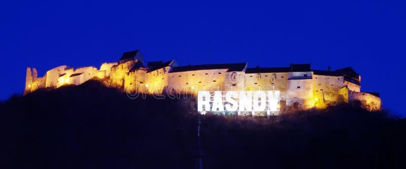 Rasnov城堡罗马尼亚,晚上视图 库存照片