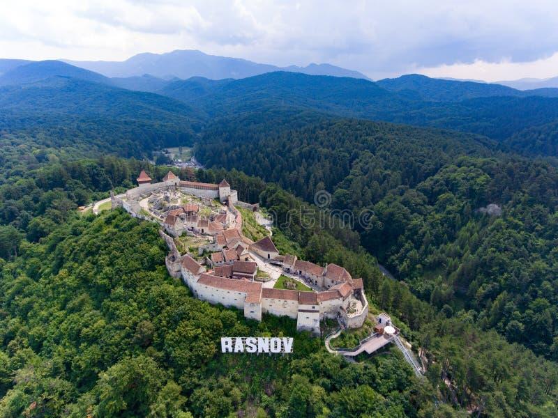 Rasnov堡垒罗马尼亚鸟瞰图  免版税图库摄影