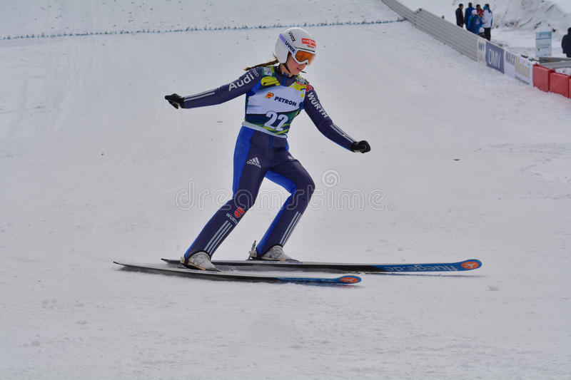 Rasnov, Roemenië - Februari 7: Van Lindsey concurreert in FIS Ski Jumping World Cup Ladies stock foto's