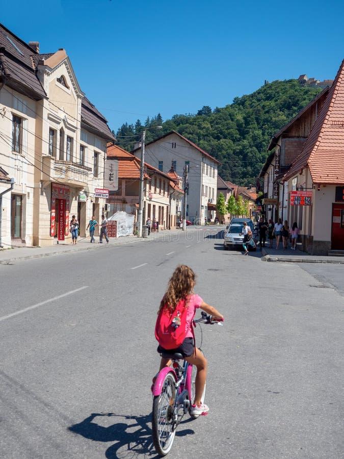 Republicii Street, Rasnov, Romania. Rasnov/Romania - August 13 2019: Republicii Street in the old center of Rasnov. Rasnov is a town in Bra royalty free stock image