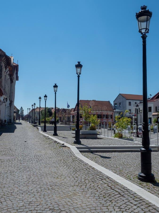 Unirii square, Rasnov, Romania. Rasnov/Romania - August 13 2019: Unirii square in the old town. Rasnov is a town in BraÈ™ov County, Romania stock photo