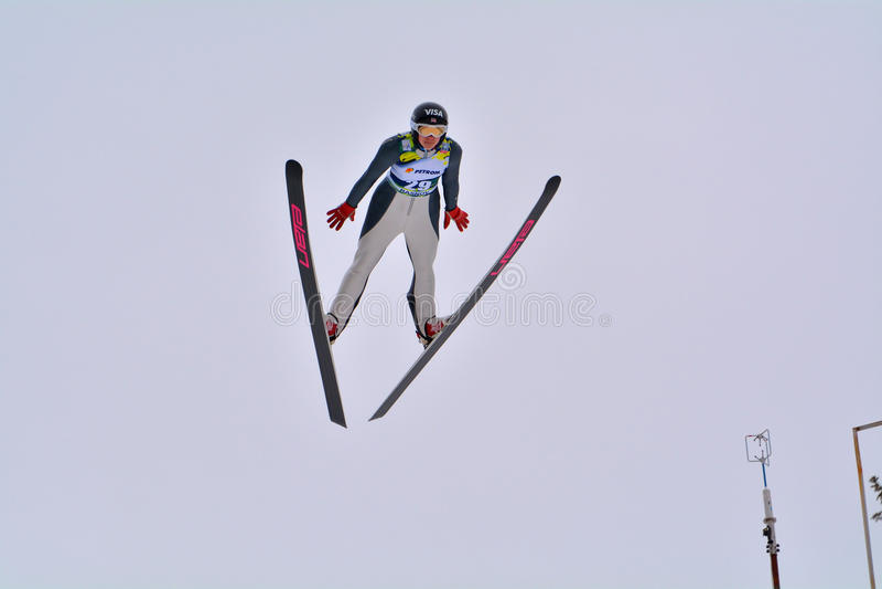 Rasnov, Romania - February 7: BOGATAJ Ursa competes in the FIS Ski Jumping World Cup Ladies. On February 7, 2015 in Rasnov, Romania stock images