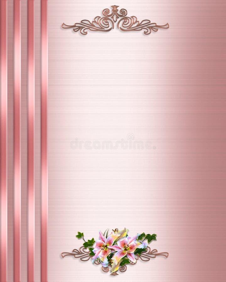 Raso di colore rosa del bordo dell'invito di cerimonia nuziale illustrazione di stock