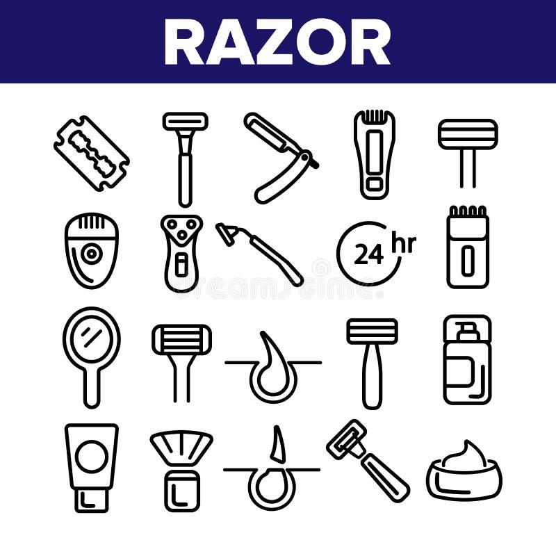 Rasoio, radente l'insieme lineare delle icone di vettore degli accessori royalty illustrazione gratis