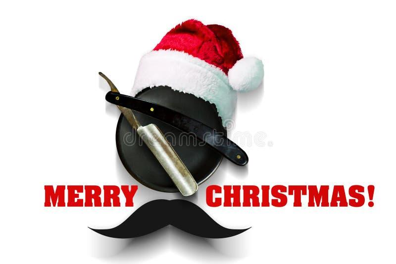 Rasoir d'un plat pour la mousse avec un chapeau de Santa Claus sur un fond blanc Joyeux Noël d'inscription Carte de voeux heureus illustration stock