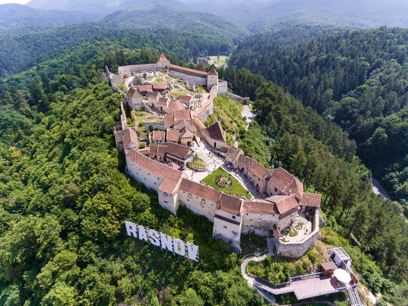 Rasonov forteca wewnątrz blisko Brasov Rumunia i otręby, Transylvania zdjęcie stock