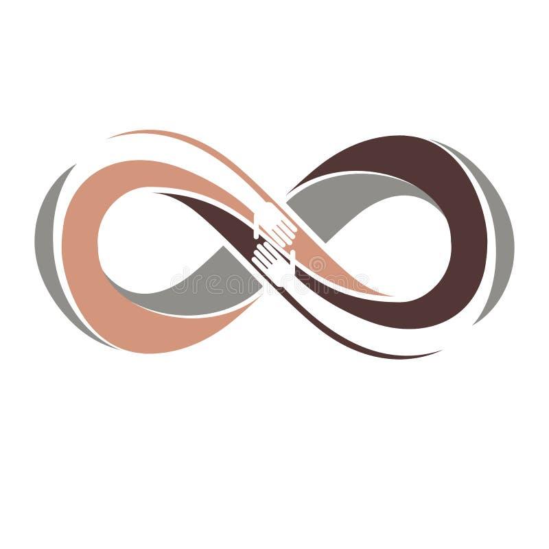 Rasowa tolerancja między różnych narodów konceptualnym symbolem, Martin Luther King dzień, zero tolerancji, wektorowy symbol twor royalty ilustracja