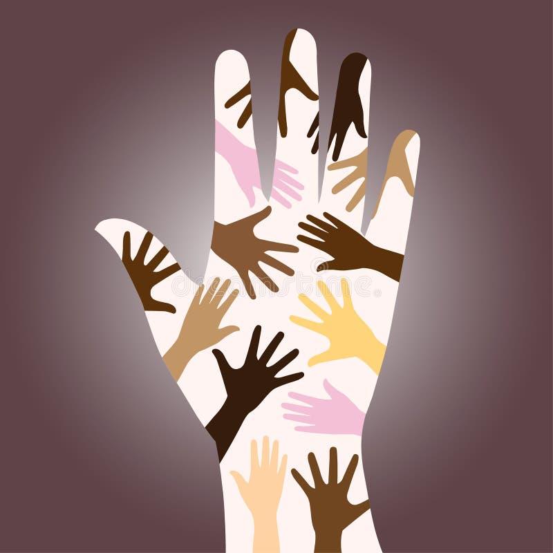 rasowe różnorodne ręki royalty ilustracja