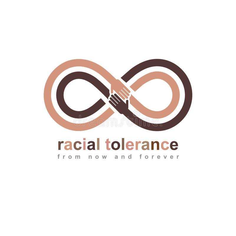 Rasowej tolerancji konceptualny symbol, Martin Luther King dzień, zero tolerancji, wektorowy symbol tworzący z nieskończoności pę royalty ilustracja