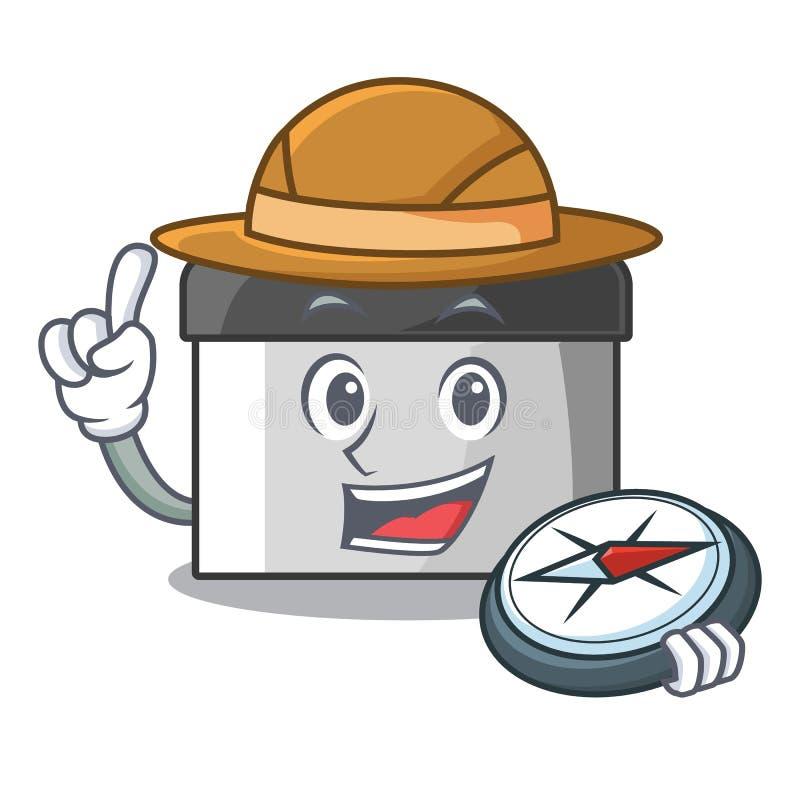 Raspador da pastelaria do explorador na tabela de madeira da mascote ilustração do vetor