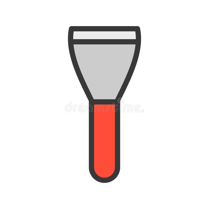 Raspador, icono llenado del esquema, herramienta del carpintero y de la manitas y sistema del equipo ilustración del vector