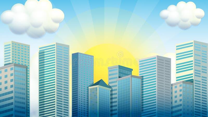 Raspadores del cielo en la ciudad stock de ilustración