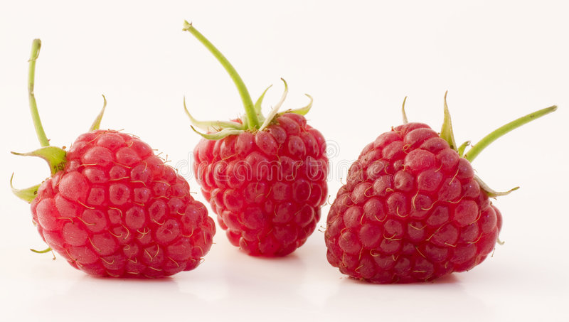 Raspberries. Fruits with stem and leaves stock photo