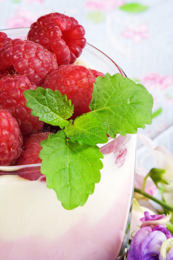 Raspberries dessert. Sweet dessert with raspberries. Macro stock images