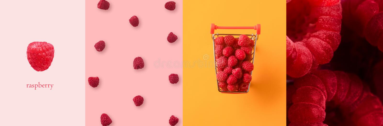 Raspberries panoramic collage royalty free stock photo