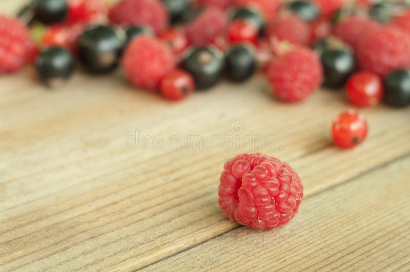 Raspberries on wooden background stock photography