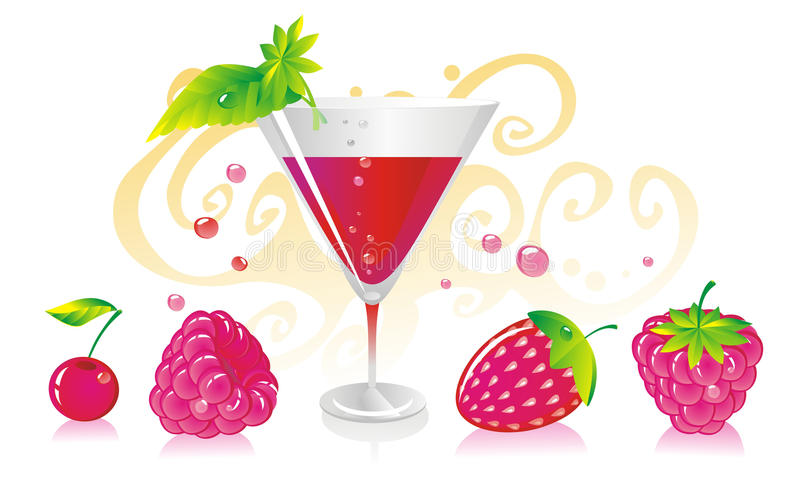 Raspberry. Crimson drink in a glass for a cocktail with a cherry, a strawberry and a raspberry vector illustration