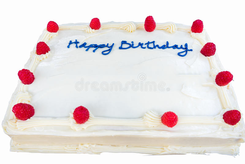 Raspberry birthday cake with white frosting isolated. Happy Birthday with blue icing on raspberry cake with white frosting royalty free stock image
