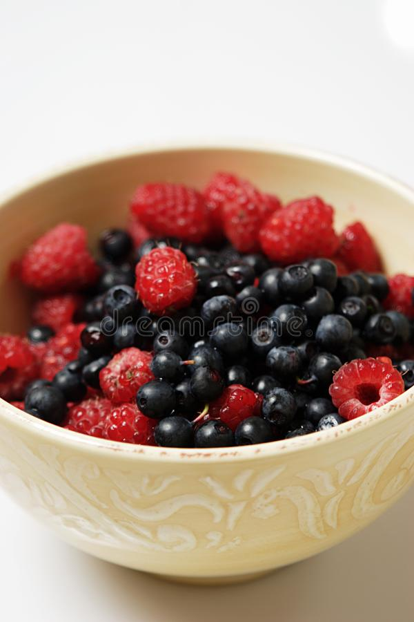 Raspberry and blueberry stock images