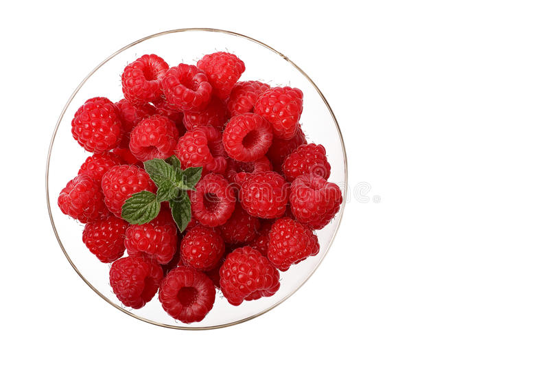 Raspberry bowl stock photo