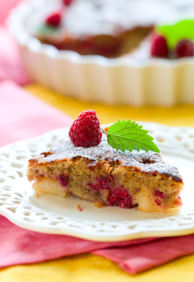 Raspberry cake stock images