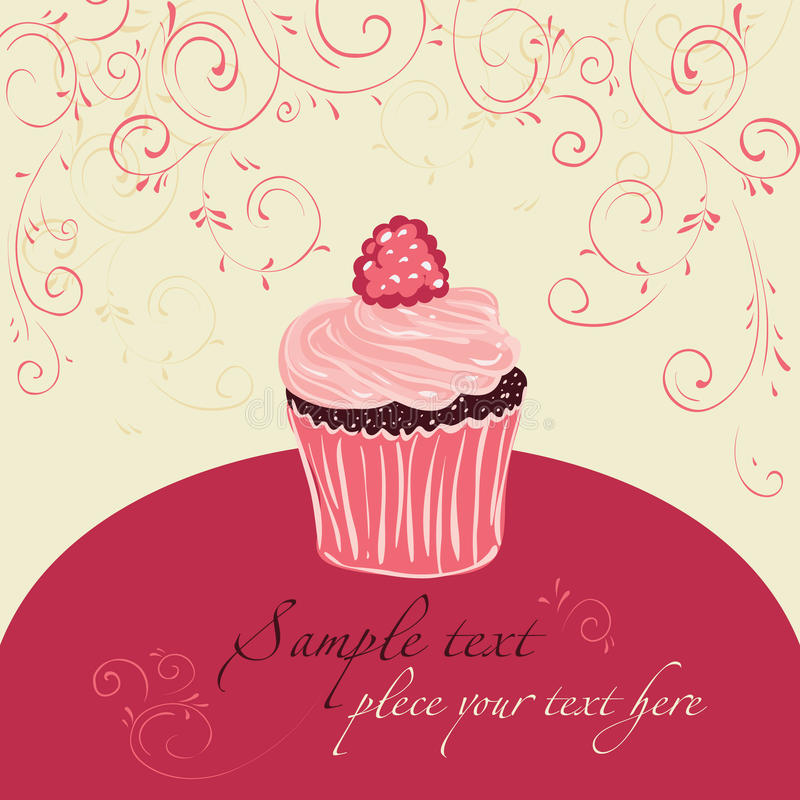 Raspberry cake. Template design for card royalty free illustration