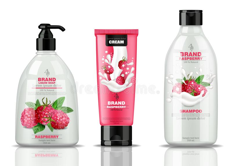 Raspberry cosmetics bottles set collection Vector realistic. Liquid soap, hand cream, shampoo raspberry containers mock vector illustration