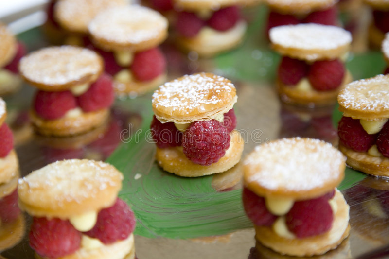 Raspberry Dessert. Raspberry tarts resting on a platter for an after dinner dessert treat royalty free stock photos