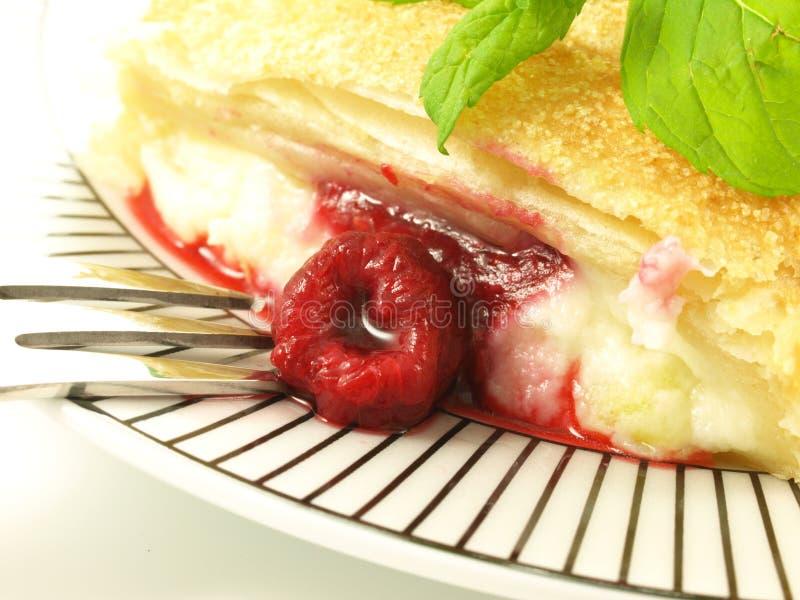 Raspberry dessert, closeup royalty free stock photos
