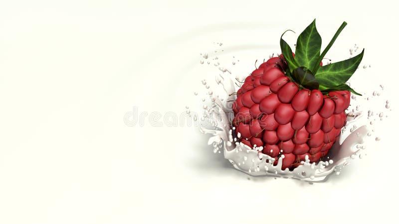 Raspberry falls into milk. 3d vector illustration