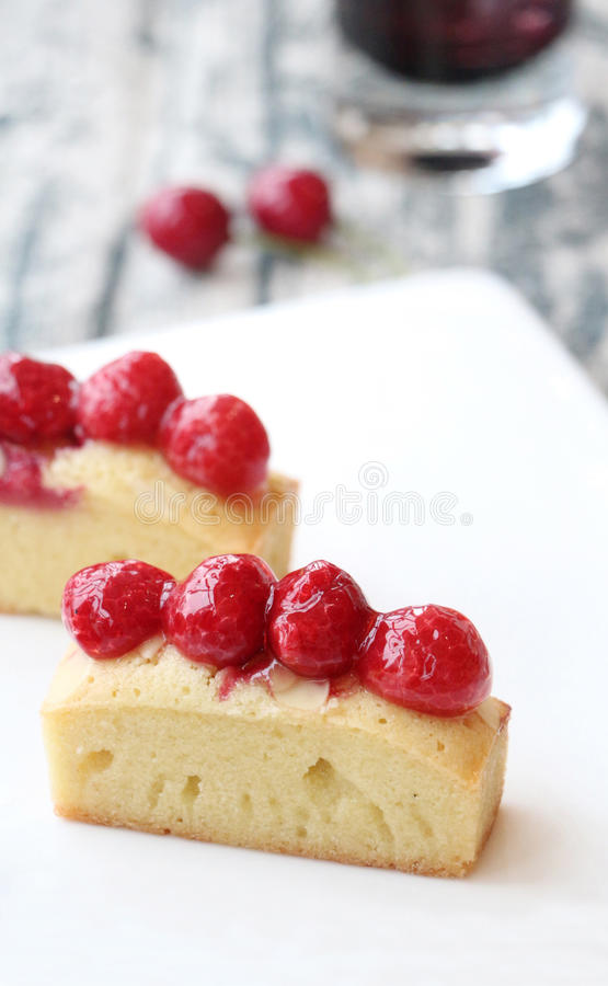 Raspberry financier. Taste sour and sweet stock photography