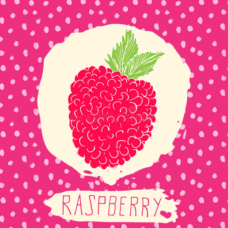 Raspberry hand drawn sketched fruit with leaf on background with dots pattern. Doodle vector raspberry for logo, label, brand iden royalty free illustration