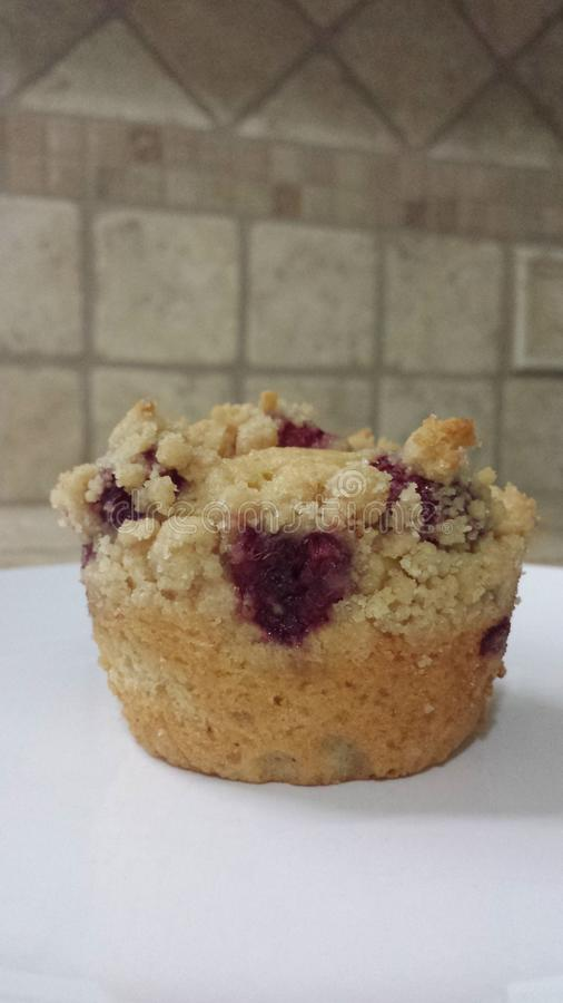 Raspberry heart muffin royalty free stock photography
